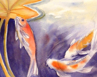 Koi Watercolor Print, Fish Painting, Lily Pond Art by Janet Zeh Original Art