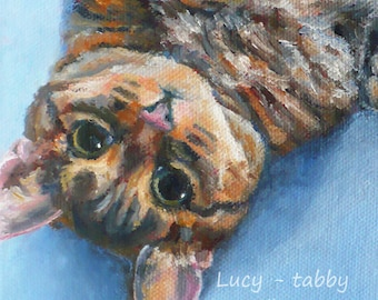 Custom 5x7 Cat Portrait from Photo Oil Painting on Canvas by Janet Zeh, Gift for Pet Owner, One or Multiple Animals