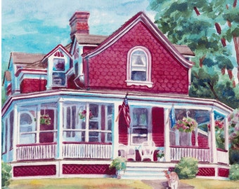 Custom watercolor house painting from photos, home portrait, Commissioned art, Gift for wife, husband, parents by Janet Zeh Original Art