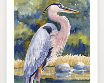 Great Blue Heron Large Print on watercolor paper, Vertical green gold gray nature wall art by Janet Zeh, Choose your heron