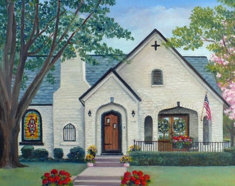 Hand painted home portrait oil on canvas painting, Realtor closing gift for clients, Original custom house art from photos by Janet Zeh