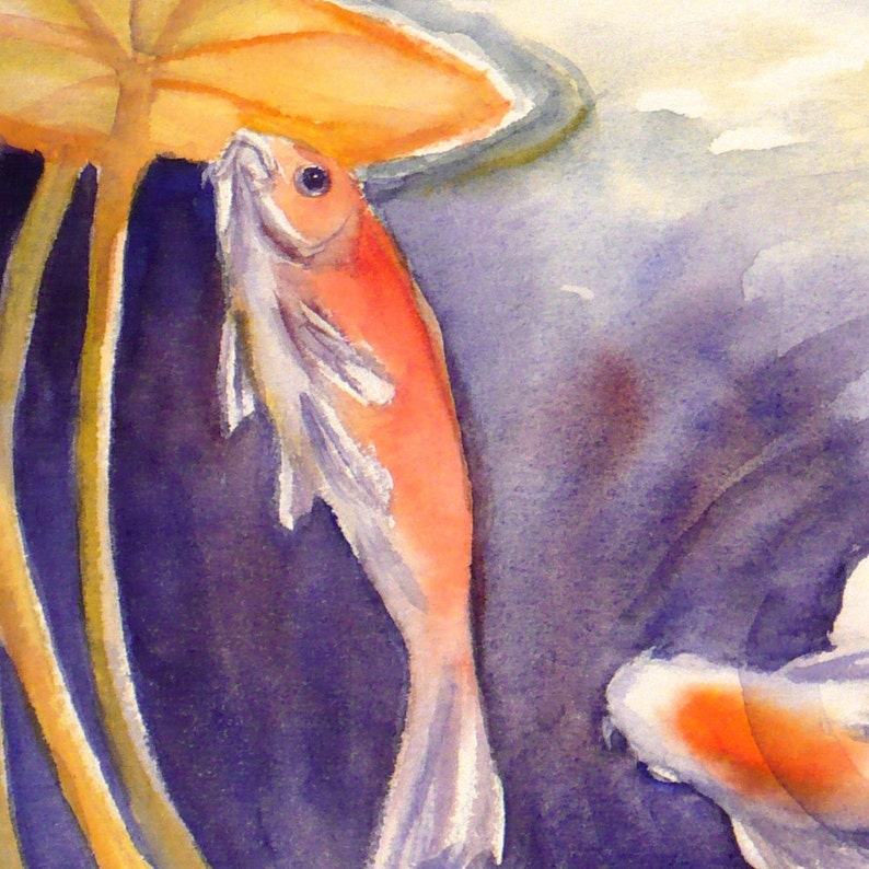 Koi Watercolor Print Fish Painting Lily Pond Art by Janet Zeh Home decor