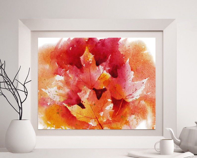 leaf fall art home decor Autumn maple leaves print watercolor wall art unframed colorful giclee artwork by artist Janet Zeh