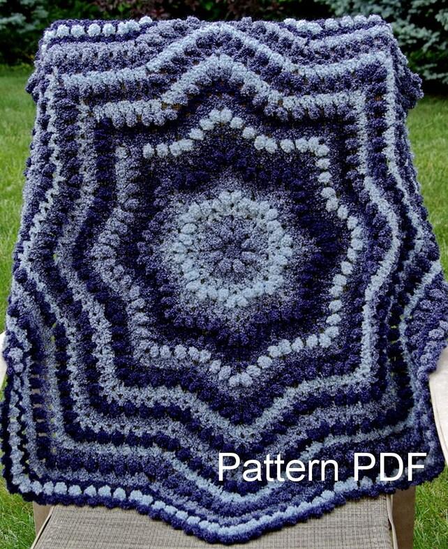 Crochet bebé manta patrón fácil rizado redondo afgano | Etsy
