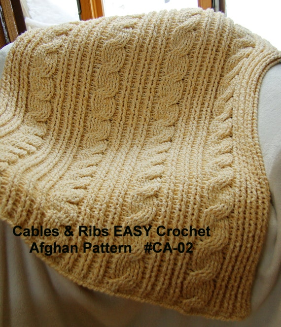 Crochet Blanket Pattern. Cables & Rib EASY Crochet Afghan Pattern ...