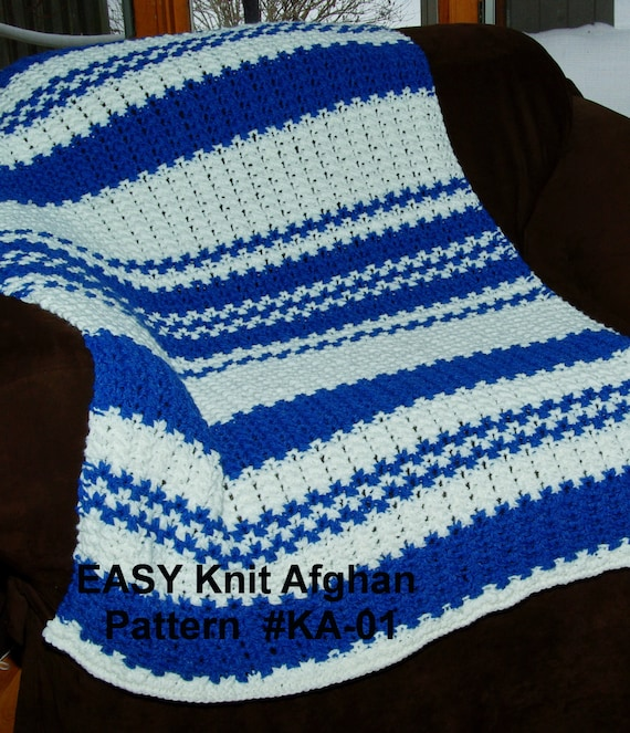 Easy Knit Blanket Pattern Quick Easy 2 Row Repeat Size 13 Etsy