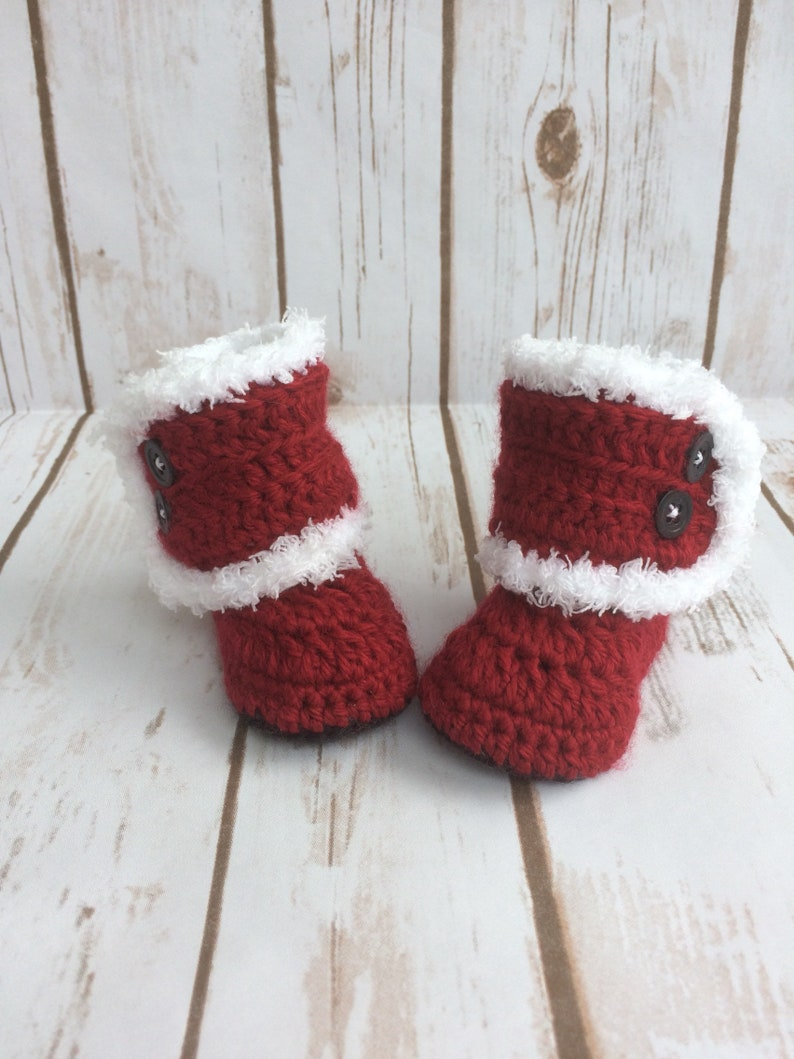 f2c36ab10c0d5 Handmade Crochet Booties, Santa Booties for Girl Baby, Booties for Girl  Toddler, Socks, Slippers, Super Soft and Cuddly Lining
