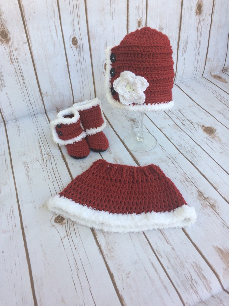 dde5fafa5 Hand Crocheted Mrs. Claus Outfit Baby Girl's Santa | Etsy