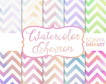 Digital Paper Watercolor Chevron | digital paper, chevron paper, watercolor chevron, chevron, watercolor paper, watercolor