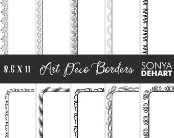 Clipart Art Deco Doodle Borders and Frames Clip Art CA214 Clipart SALE
