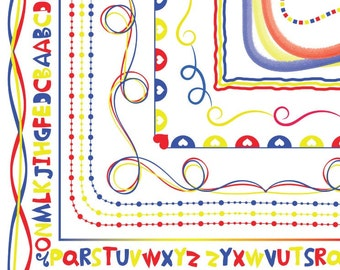 Clipart Primary Colored Kids Doodle Borders and Frames Clip Art CA166