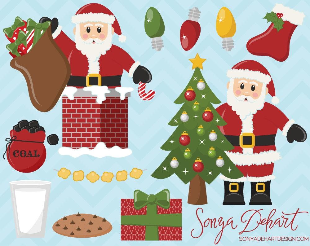 Santa Claus Clipart Set Commercial Use Christmas Clip Art | Etsy