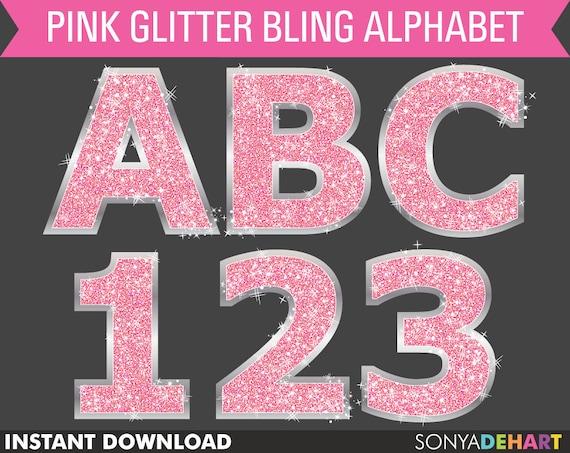 Pink Glitter Alphabet clipart alphabet letters glitter | Etsy