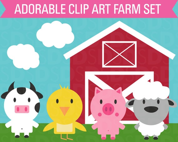 Clipart Farm Animal Set Barn Cow Chicken Sheep Pig And Clouds
