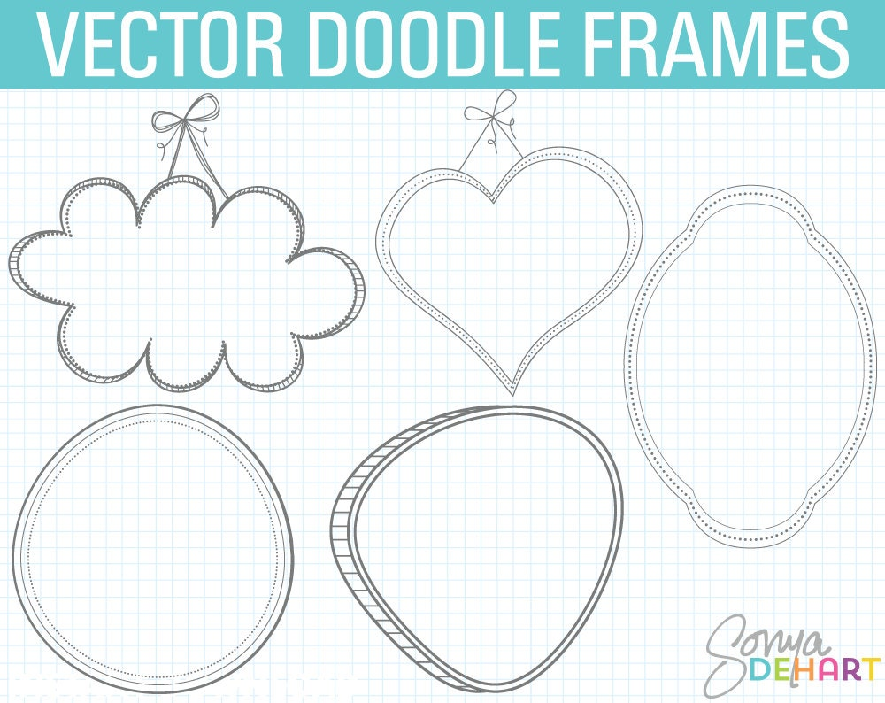 Digitale Bilderrahmen Doodle Rahmen Clipart Doodle Clipart | Etsy