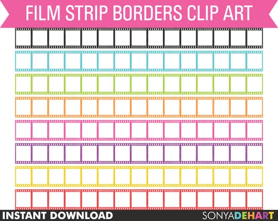 Clipart Film Strip Borders Digital Personal And Commercial Use Etsy
