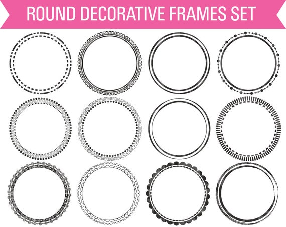 Round Digital Frames Circle Digital Frame Frame Clipart | Etsy