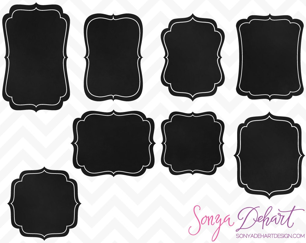 clipart chalkboard label chalk frames commercial use clip art | etsy
