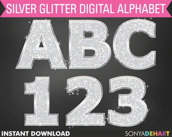 Silver Glitter Alphabet | clipart, alphabet letters, glitter graphics, glitter alphabet, alphabet clipart, silver alphabet, glitter letters