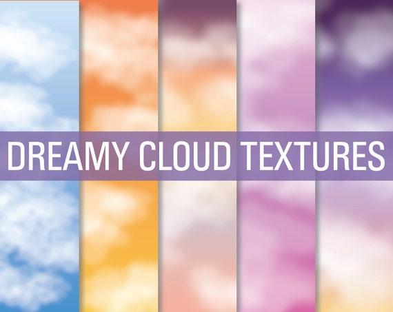 Cloud Textures, Cloud Digital Paper, Cloud Overlays, Texture