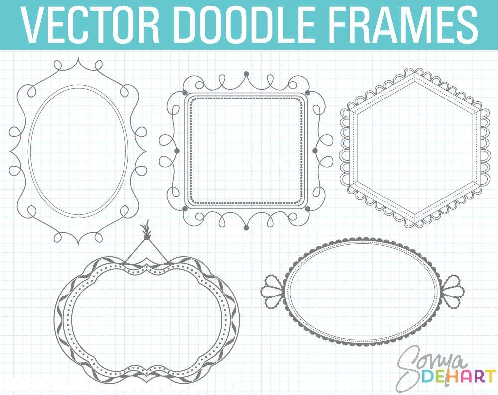 Doodle Rahmen Clipart digitale Bilderrahmen Doodle Clipart | Etsy