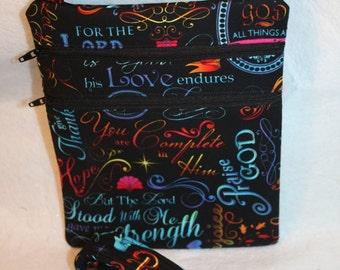 Handcrafted Crossbody Bag- Spiritual- God- Sharing - Love Themed Fabric