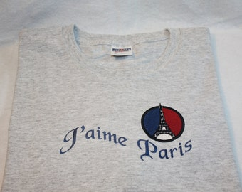 Embroidered T shirt J aime  - Love Paris  (Sweatshirts also available)