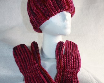Red/Pink Tweed Crochet Hat and Mitten Set w/Free Shipping