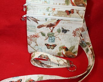 Handcrafted Crossbody Bag-  Song Birds- Butterflies Themed Fabric    FREE SHIPPING