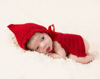 Little Red Riding Hood Cape Halloween Costume For Newborn Baby Photography Prop Crochet Knit 0-3 months : 0 3 months halloween costumes  - Germanpascual.Com