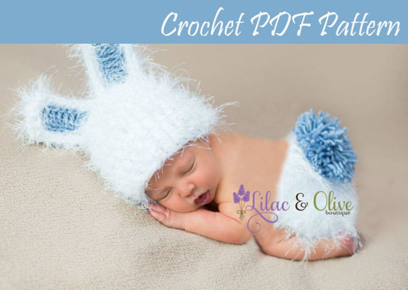 7f6772744 Crochet pattern Bunny Rabbit Hat and Diaper Cover Newborn Easter Baby Girl  Baby Boy Instant Download PDF
