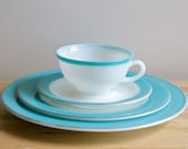 Turquoise Pyrex Dishes - Vintage 1950s Milkglass Plate, Saucer, Teacup Dinnerware Place Setting
