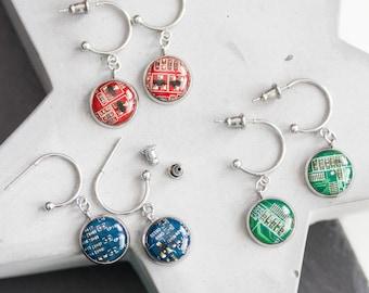 Stud earrings with 12mm round circuit board pendants, steel wires