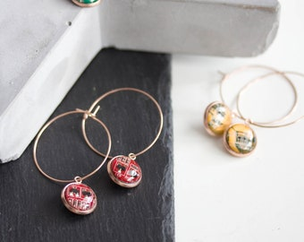 Hoop earrings with 12mm round circuit board pendants, rose gold colored