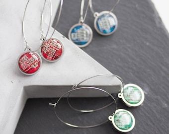 Hoop earrings with 15mm round circuit board pendants, stainless steel