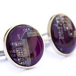 Cufflinks for groomsmen, Circuit board Cufflinks, wedding cuff links, cufflinks for computer geeks, stainless steel, recomputing