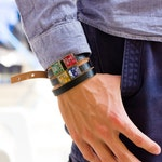 Leather bracelet - wrap bracelet - circuit board - customizable - square, resin