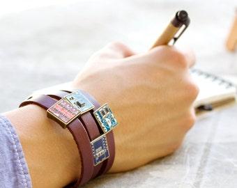 Wrap leather bracelet - gift for computer geek - circuit board jewelry - customizable color - unisex bracelet