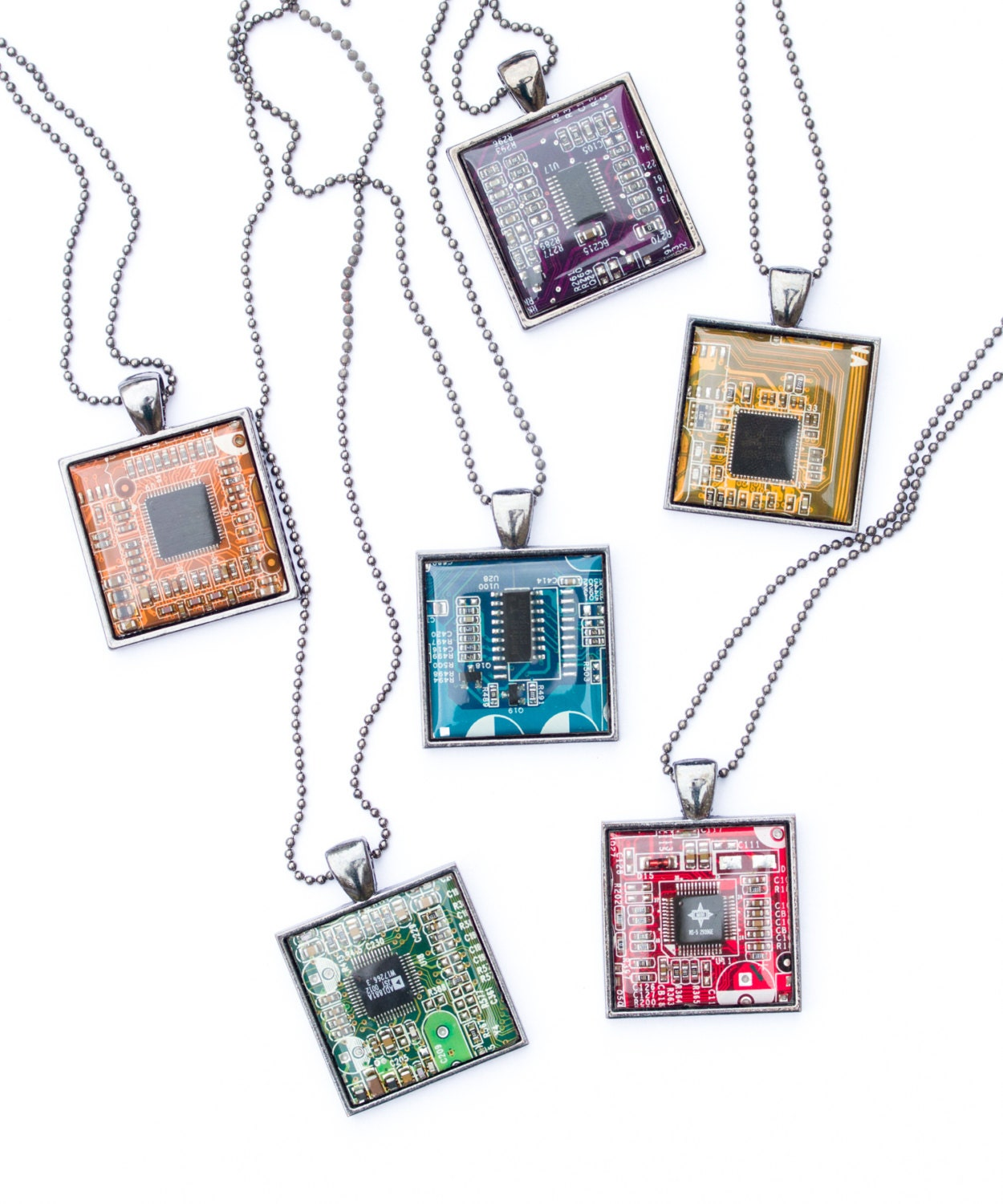 Techie Necklace Circuit Board Geeky Square Etsy Geekery Computer Nerd Green Upcycle Recycle