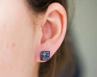 Geeky stud earrings - Circuit board studs - recycled computer - hypoallergenic