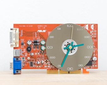 Desk clock - unique office clock, Recycled video card clock, gift for him, techie decor - orange circuit board c2971