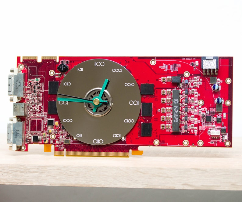 red circuit board Desk clock Recycled video card clock unique office clock