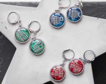Dangle earrings with 15mm round circuit board pendants, steel wires