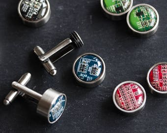 Cufflinks with interchangeable buttons, recycled circuit board cufflinks, gift for him, computer nerd gift