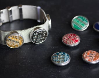 Bracelet with interchangeable circuit board buttons, customizable bracelet, techie girl, gift for her