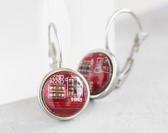 Circuit board dangle earrings, 10mm round, steel wires