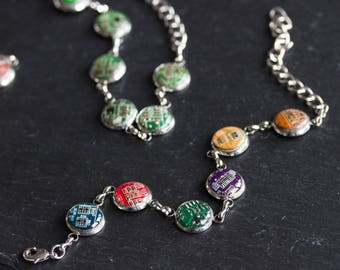 Colorful bracelet made with recycled circuit board, rainbow bracelet, unique jewelry