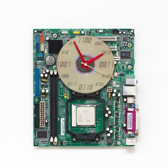 unique wall clock recycled computer clock made with green etsy rh etsy com