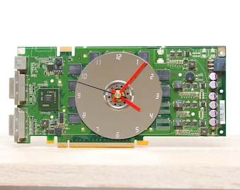 Desk clock - Recycled graphics card clock, unique office clock, green circuit board
