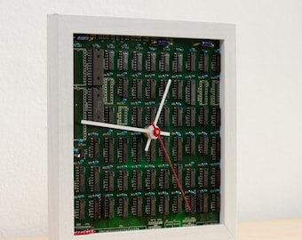 Desk clock for a techie, unique clock, recycled Computer clock, green circuit board clock - ready to ship c3042